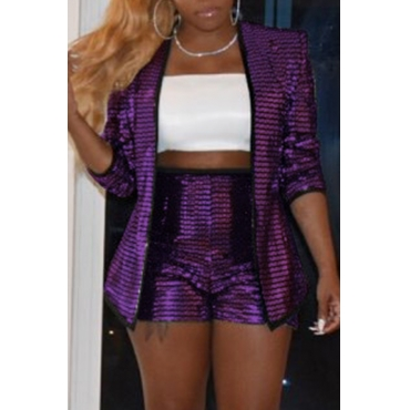Lovely Casual Sequined Purple Two-piece Shorts Set