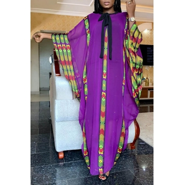Lovely Casual Printed Loose Purple Ankle Length Plus Size Dress