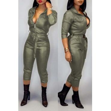 Lovely Trendy Zipper Design Green One-piece Jumpsuit