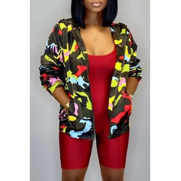 Lovely Casual Printed Yellow Coat