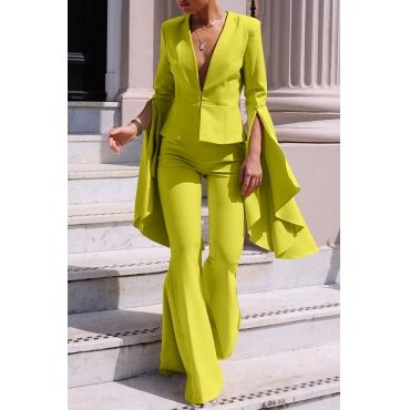 Lovely Work Deep V Neck Olive Yellow Two-piece Pants Set
