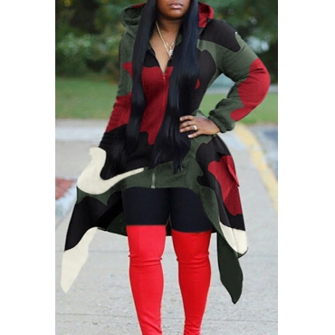 Lovely Casual Hooded Collar Camouflage Printed Red Hoodie