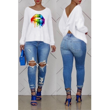 Lovely Casual Cross-over Design Printed White Sweatshirt Hoodie