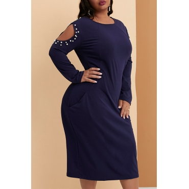 Lovely Casual Cold Shoulder Pocket Patched Deep Blue Knee Length Plus Size Dress
