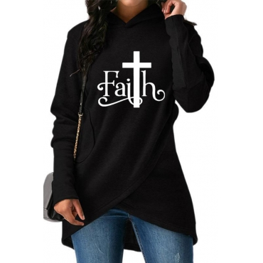 Lovely Casual Hooded Collar Letter Printed Black Hoodie