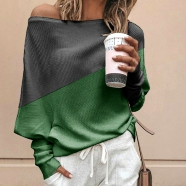 Lovely Work Color-lump Green Sweater