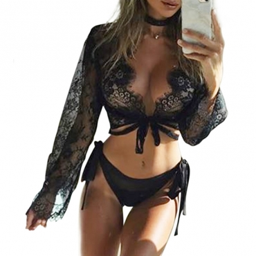 Lovely Sexy Lace-up Black Bra Sets