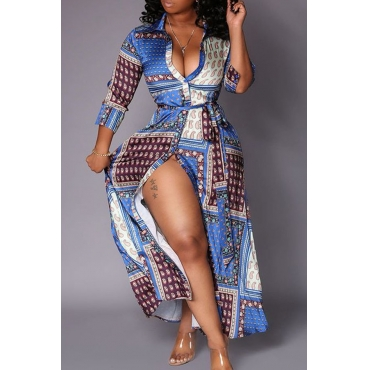 Lovely Casual Printed Blue Ankle Length Dress