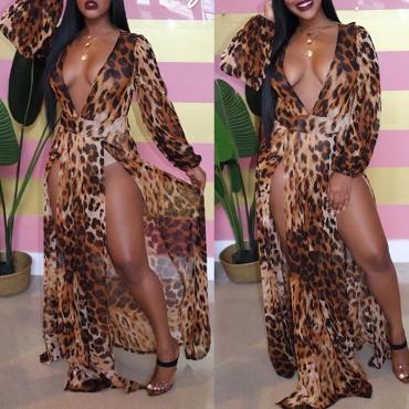 Lovely Sexy Deep V Neck Leopard Printed Floor Length Dress