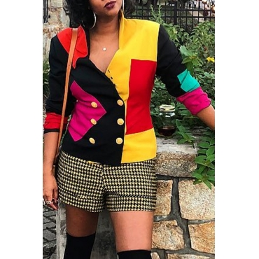 Lovely Chic Color-lump Patchwork Multicolor Blazer