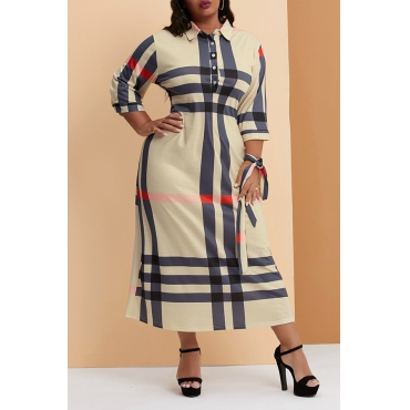 Lovely Casual Plaid Printed Beige Ankle Length Plus Size Dress