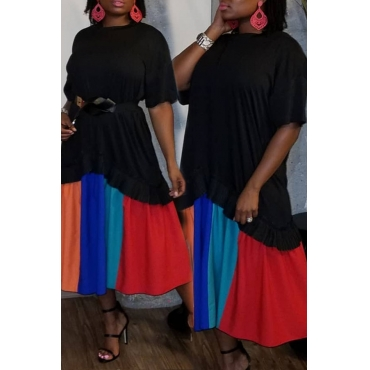 Lovely Trendy Patchwork Black Ankle Length Dress