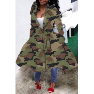 Lovely Casual Camouflage Printed Long Coat