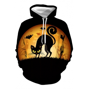 Lovely Halloween Hooded Collar Black Hoodie