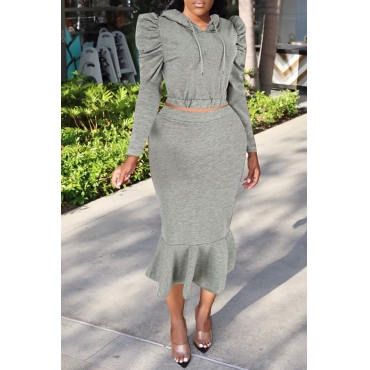 Lovely Casual Hooded Collar Flounce Grey Two-piece Skirt Set
