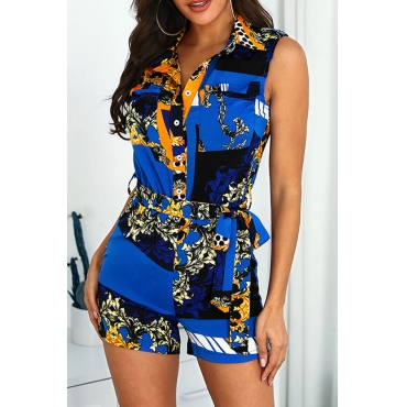 Lovely Casual Printed Blue One-piece Romper