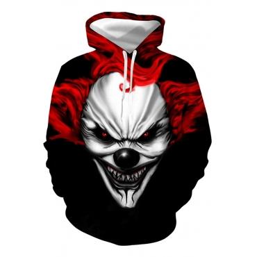 Lovely Casual Clown Printed Black Hoodie