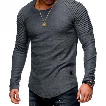 Lovely Casual O Neck Ruffle Design Grey T-shirt