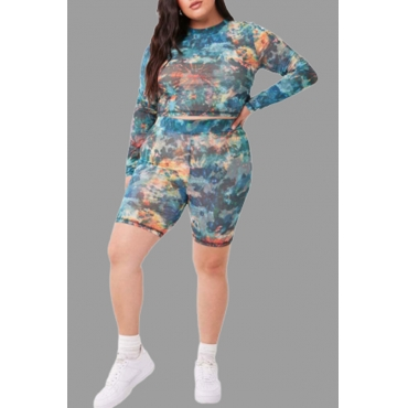 Lovely Casual Camouflage Printed Plus Size Two-piece Pants Set