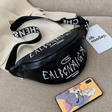 Lovely Trendy Printed Black Crossbody Bag