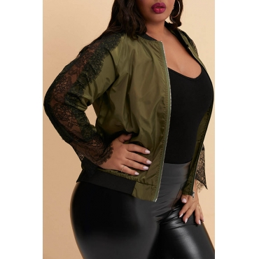 Lovely Trendy Patchwork Army Green Plus Size Jacket