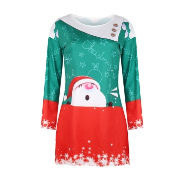 Lovely Christmas Day O Neck Printed Red Mini Dress