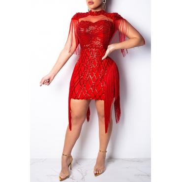 Lovely Chic Tassel Design Red Mini Dress