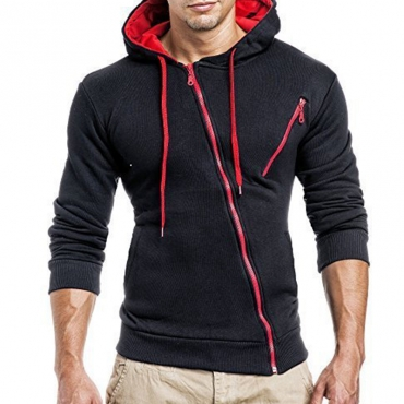 Lovely Leisure Patchwork Zipper Design Black Hoodie