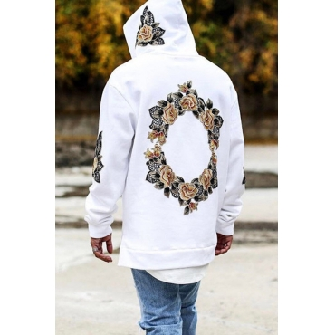 Lovely Casual Embroidered Design White Hoodie
