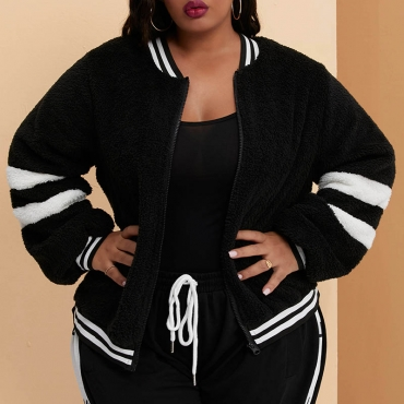 Lovely Casual Patchwork Black Plus Size Coat