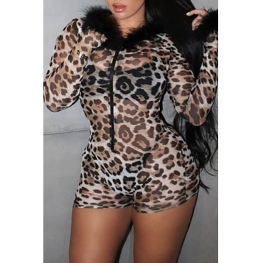 Lovely Sexy Leopard Printed One-piece Romper