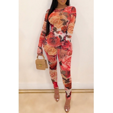 Lovely Trendy Printed Red One-piece Jumpsuit