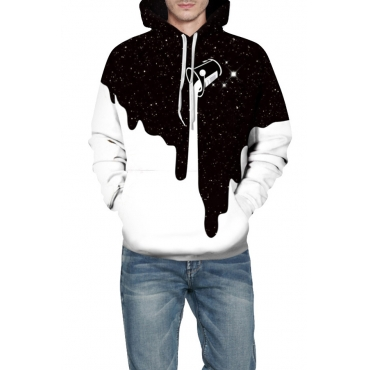 Lovely Street Hooded Collar Patchwork Black And White Hoodie