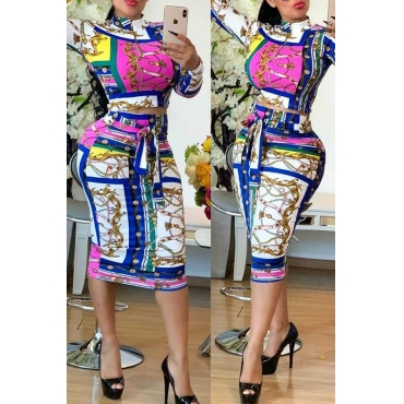 Lovely Casual Printed White Two-piece Skirt Set