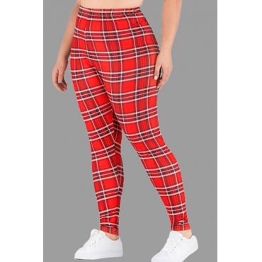 Lovely Casual Printed Red Plus Size Pants