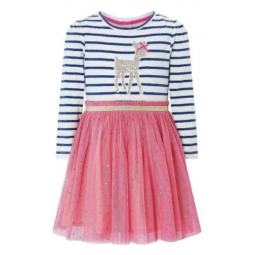 Lovely Sweet Striped Patchwork Pink Knee Length Girls Dress