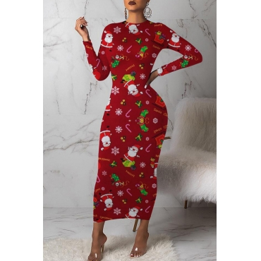 Lovely Christmas Day Printed Red Mid Calf Dress