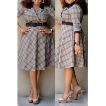 Lovely Casual Plaid Printed Beige Knee Length Plus Size Dress