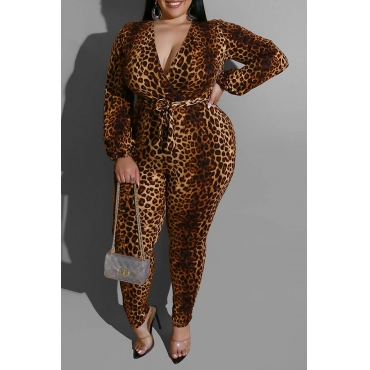Lovely Casual Leopard Printed Plus Size One-piece Jumpsuit