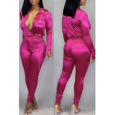 Lovely Casual Deep V Neck Rose Red One-piece Jumpsuit
