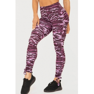 Lovely Casual Printed Skinny Purple Leggings