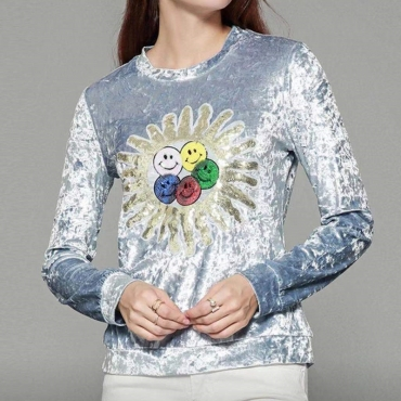 Lovely Casual Printed Silver T-shirt