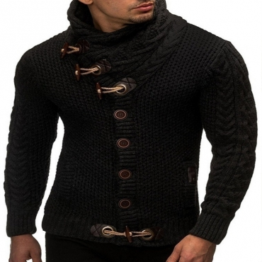 Lovely Casual Buttons Black Sweater