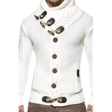 Lovely Casual Buttons White Sweater