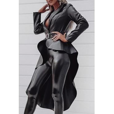 Lovely Casual Asymmetrical Black Coat