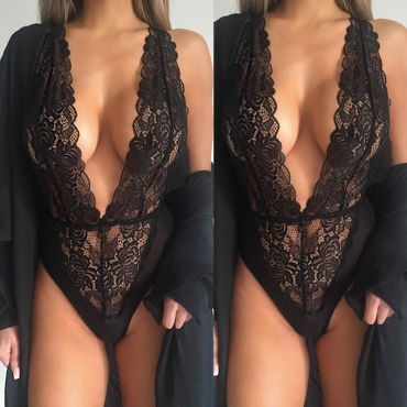 Lovely Sexy Deep V Neck Skinny Black Teddies