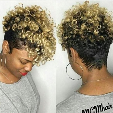 Lovely Trendy Short Curly Synthetic Gold Wigs