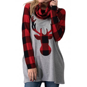 Lovely Christmas Day Plaid Printed Red T-shirt