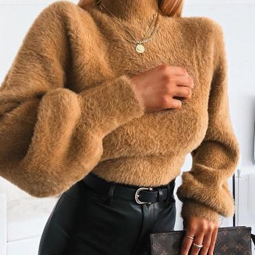 Lovely Casual Turtleneck Brown Sweatshirt Hoodie
