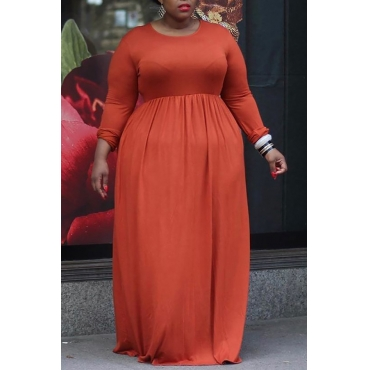 Lovely Casual Loose Jacinth Floor Length Plus Size Dress